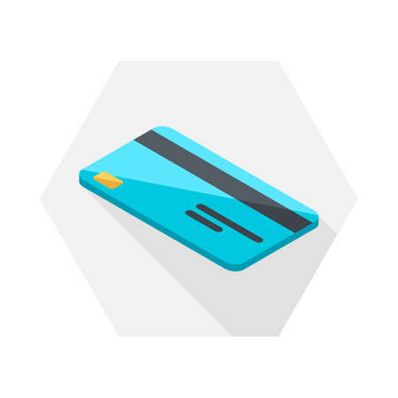 Credit card left view icon vector isometric. Illustration