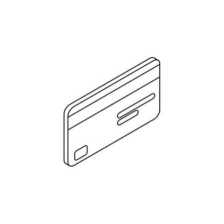Credit card right view - Black Outline icon vector isometric.