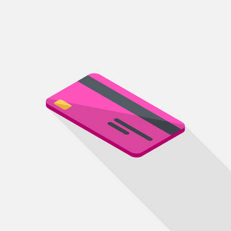 Credit card Pink left view icon vector isometric.