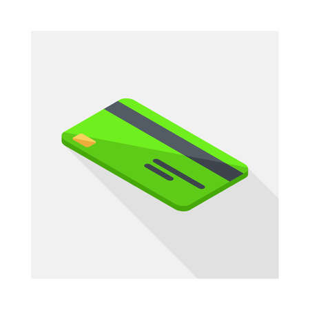 Credit card Green left view icon vector isometric. Illustration