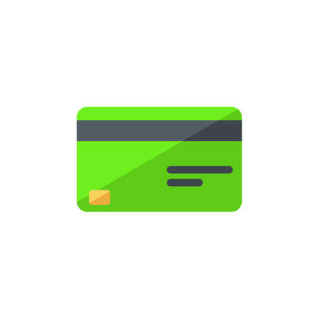 Credit card Green - White Background icon vector isolated. Illustration