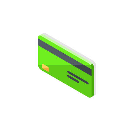 Credit card Green left view - Shadow icon vector isometric.