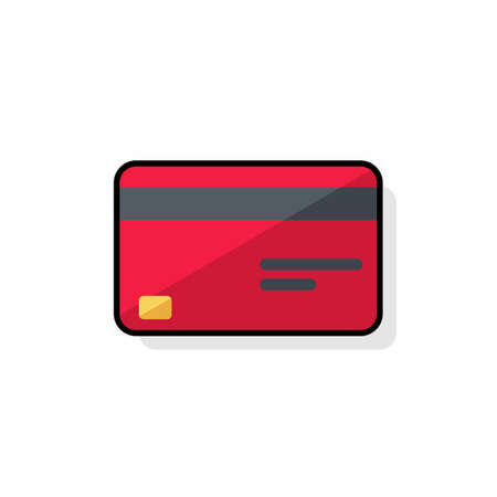 Credit card Red - Black Stroke Shadow icon vector isolated.