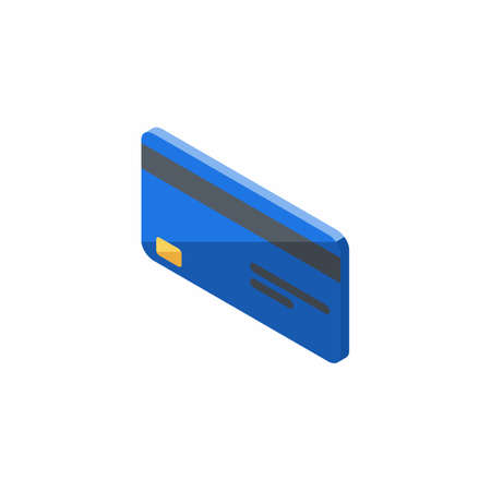 Credit card Blue left view - White Background icon vector isometric. Illustration