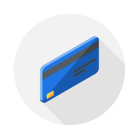 Credit card Blue right view icon vector isometric.
