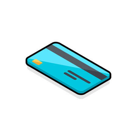 Credit card left view - Black Stroke+Shadow icon vector isometric.