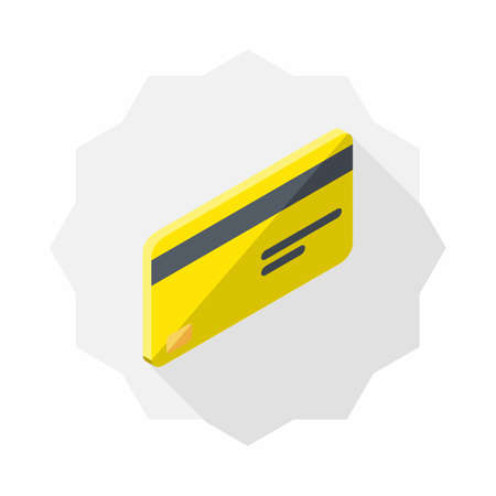 Credit card Yellow right view icon vector isometric. Illustration