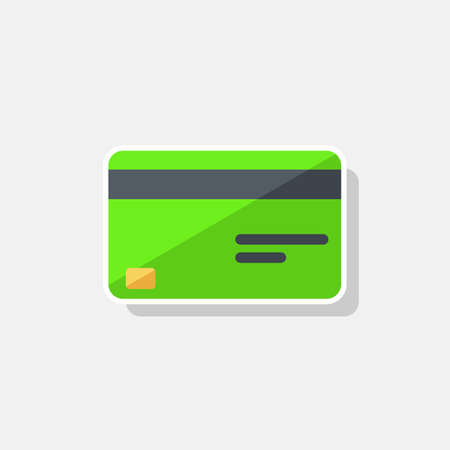 Credit card Green - White Stroke Shadow icon vector isolated.