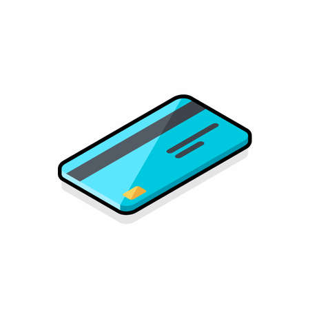 Credit card right view - Black Stroke Shadow icon vector isometric. Illustration