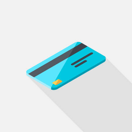 Credit card right view icon vector isometric.