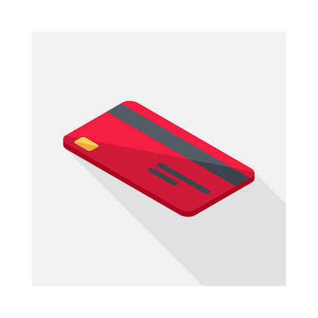 Credit card Red left view icon vector isometric. Vectores