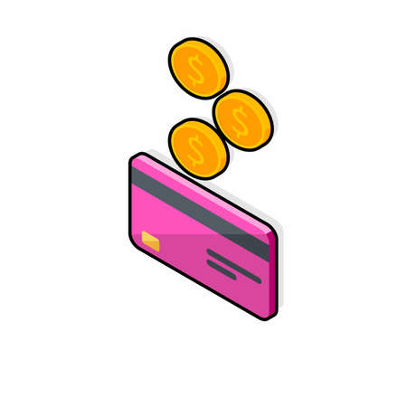 Cash get a bank card Pink left view - Black Stroke Shadow icon vector isometric.