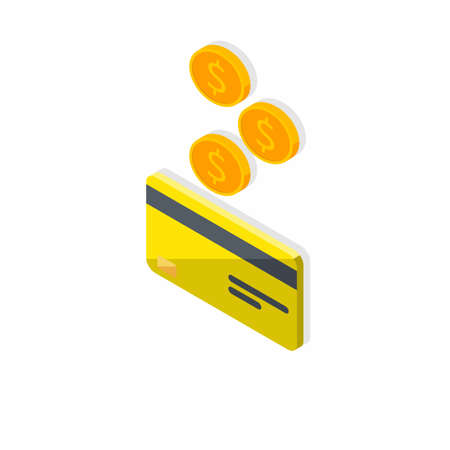 Cash get a bank card Yellow left view - Shadow icon vector isometric. Vectores