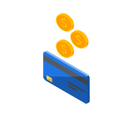 Cash get a bank card Blue left view - White Background icon vector isometric.
