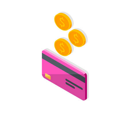 Cash get a bank card Pink left view - Shadow icon vector isometric.