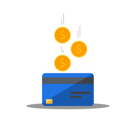 Cash get a bank card Blue - Shadow icon vector isolated. Vectores