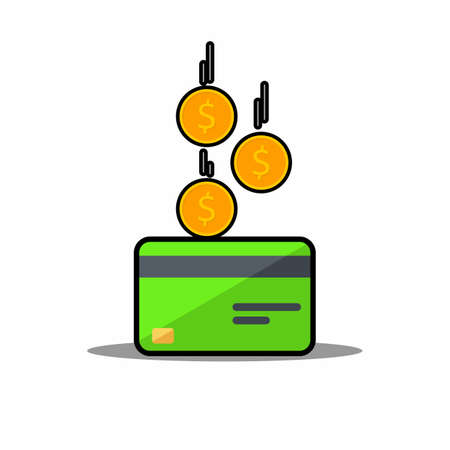 Cash get a bank card Green - Black Stroke Shadow icon vector isolated.