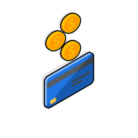 Cash get a bank card Blue right view - Black Stroke Shadow icon vector isometric.