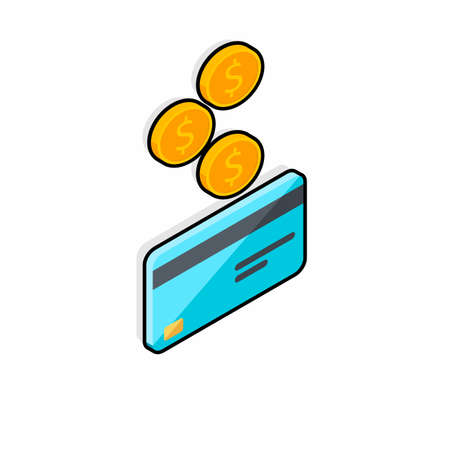Cash get a bank card right view - Black Stroke Shadow icon vector isometric. Vectores