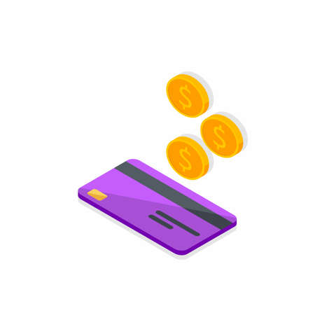 Cash get a bank card Purple left view - Shadow icon vector isometric. Vectores