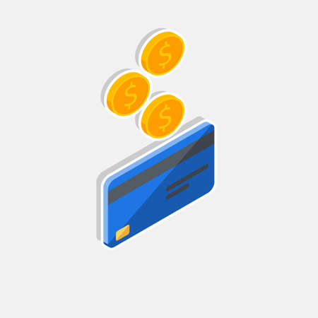 Cash get a bank card Blue right view - White Stroke Shadow icon vector isometric. Vectores