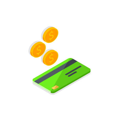 Cash get a bank card Green right view - Shadow icon vector isometric.