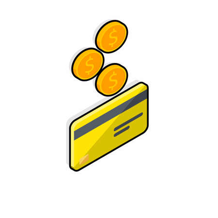Cash get a bank card Yellow right view - Black Stroke Shadow icon vector isometric.