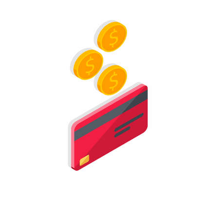 Cash get a bank card Red right view - Shadow icon vector isometric.