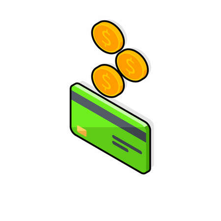 Cash get a bank card Green left view - Black Stroke Shadow icon vector isometric.