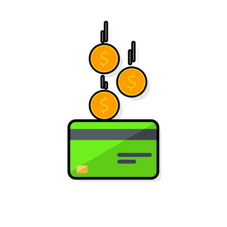 Cash get a bank card Green - Black Stroke+Shadow icon vector isolated.