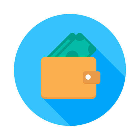 Wallet,Pay cash - Blue icon and dollar icon vector isolated.