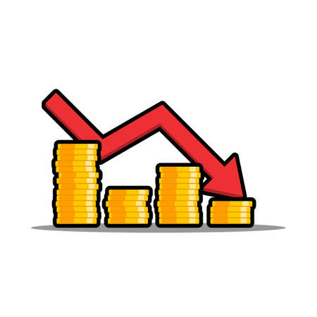 Gold coins price down red graph Black Stroke & Shadow icon vector isolated. Price dollar up.