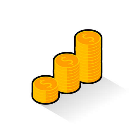 Gold coins stack Black Stroke & Shadow icon vector isometric.
