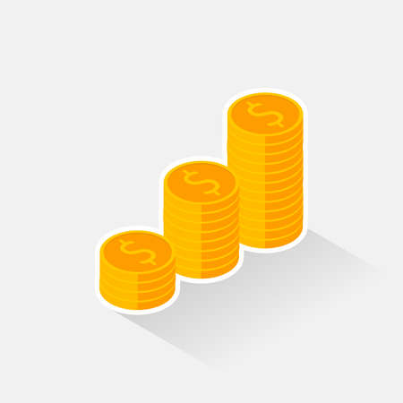 Gold coins stack White Stroke & Shadow icon vector isometric.