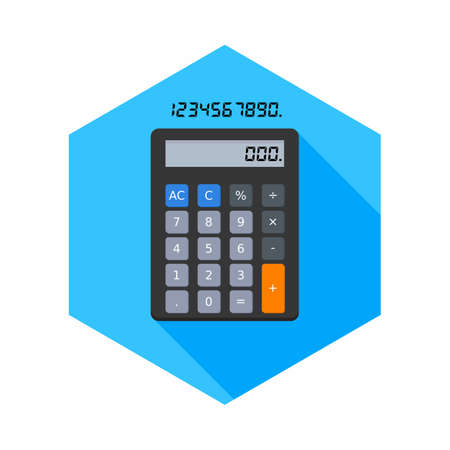 Calculator and Digital number icon vector isolated. Иллюстрация