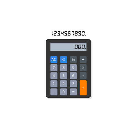 Calculator and Digital number Shadow icon vector isolated.