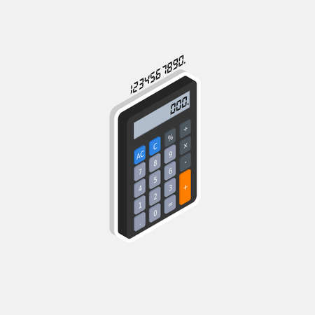 Calculator and Digital number right view White Stroke and Shadow icon vector isometric.