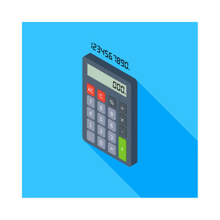 Calculator and Digital number left view icon vector isometric.