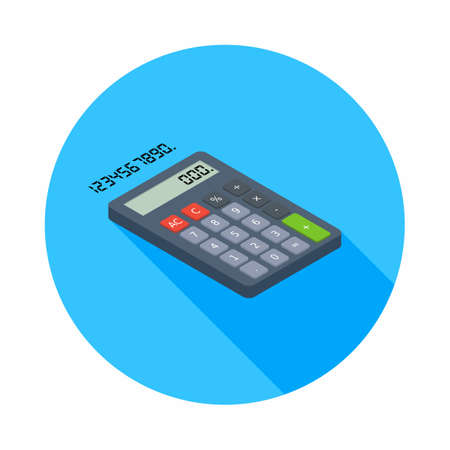 Calculator and Digital number right view icon vector isometric.