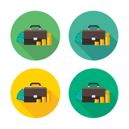 Briefcase, Dollar money cash icon, Gold coin stack icon vector isolated. Flat style vector illustration. 일러스트