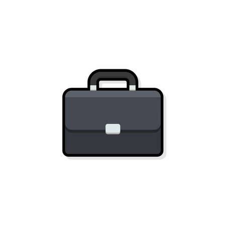 Briefcase Black Stroke and Shadow icon vector isolated. Flat style vector illustration.