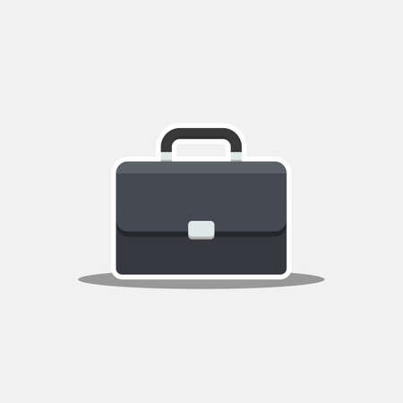 Briefcase White Stroke and Shadow icon vector isolated. Flat style vector illustration.