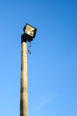 LED spotlight in The electric pole photo