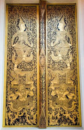 Thai painting on the  door Banco de Imagens
