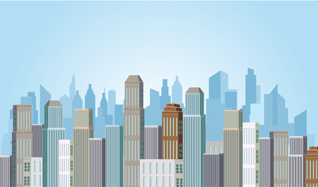 Modern City View Skyscraper Cityscape Background Ilustração