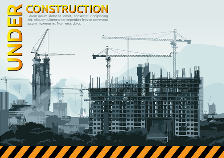 Building under Construction site,Vector illustration template design