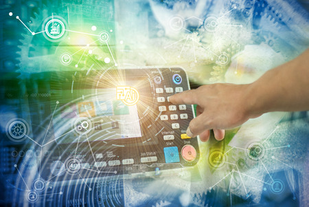 Industry 4.0 concept image. industrial instruments in the factory with cyber and physical system icons ,Internet of things network,smart factory solution Stockfoto