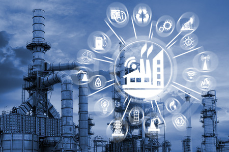 Industry 4.0 concept image. industrial instruments in the factory with cyber and physical system icons ,Internet of things network,smart factory solution Standard-Bild