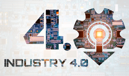 Industry 4.0 concept image. industrial instruments in the factory with cyber and physical system icons ,Internet of things network,smart factory solution Stock Photo