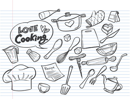 love cooking concept.Poster with hand drawn kitchen utensils.  Ilustrace